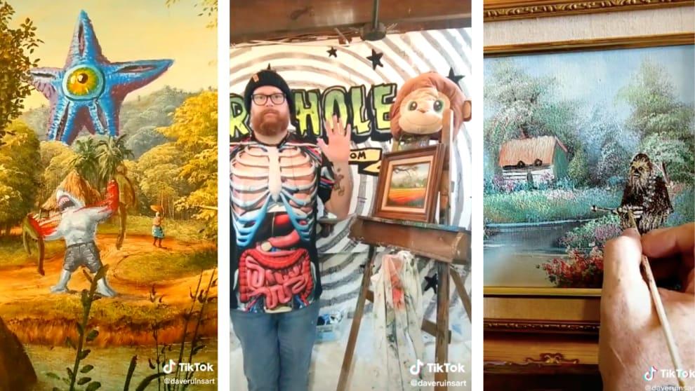 Uma pintura que mostra membros do esquadrão suicida, Dave, e ele pintando um Chewbacca.