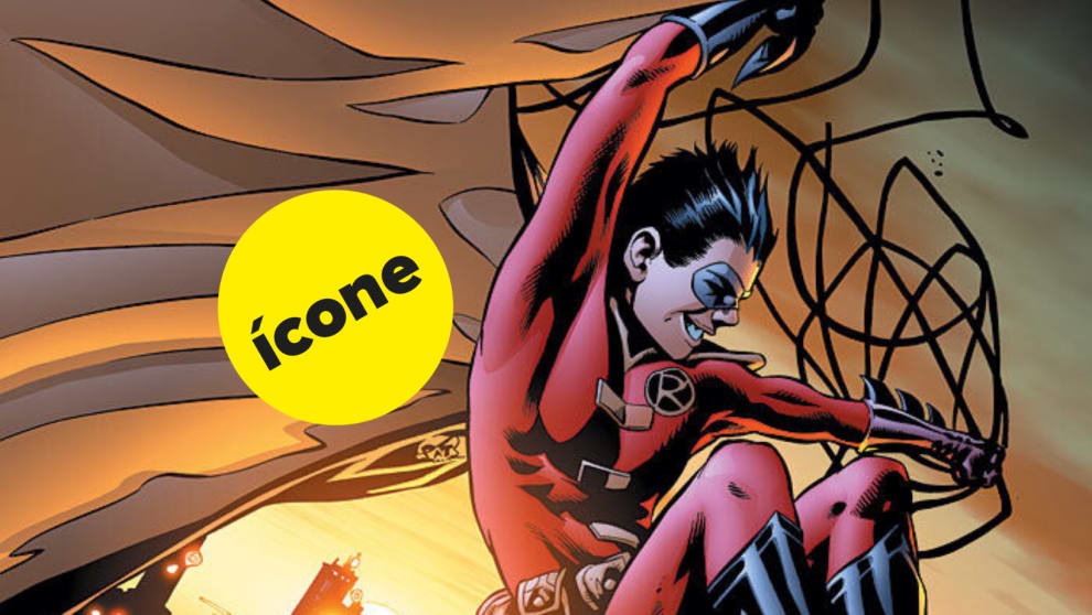 """Robin sorrindo, e um selo de """"ícone"""" atrás dele"""