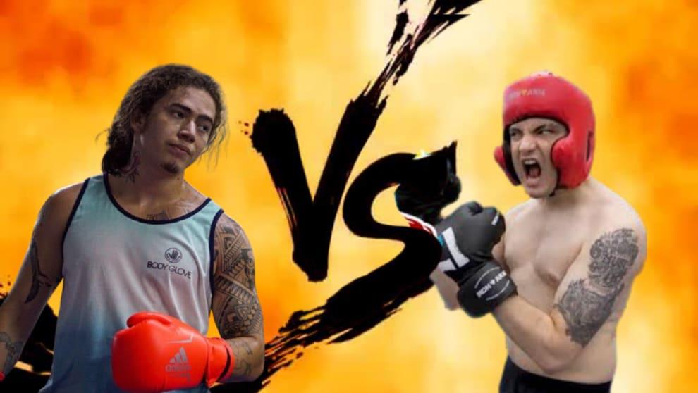 """Whindersson e Felipe Neto com luvas de boxe, em um fundo de luta escrito """"VS"""""""