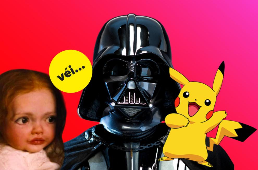 Um bebê de crepúsculo, Darth Vader e Pikachu