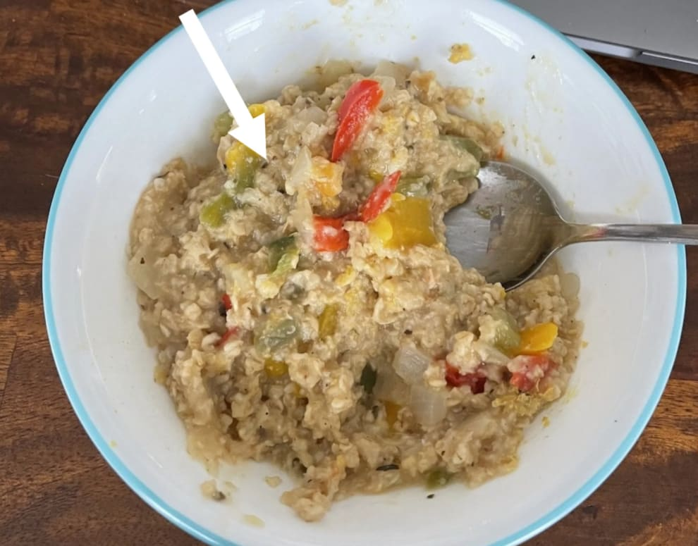 A bowl of savory oats