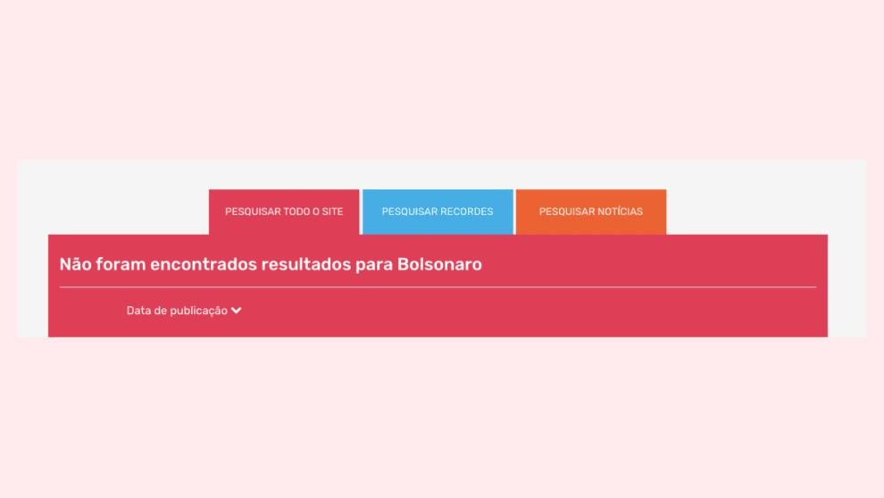 Reprodução do site do Guinness, mostrando que não há nada relacionado a Bolsonaro no site