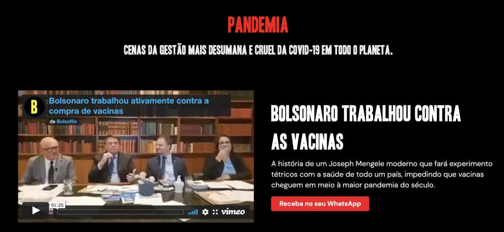"Print da aba ""pandemia"" no Bolsoflix."