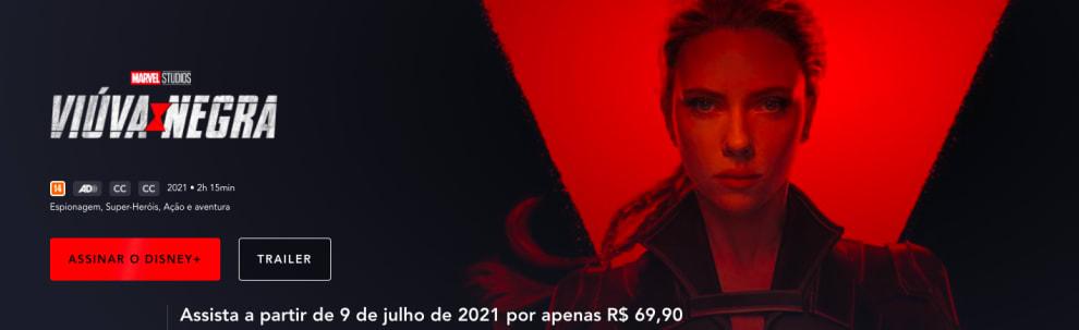 Print da tela do Disney+ que mostra o rosto da Viúva, com os dizeres: 'Assinar o Disney+' e 'Assista a partir de 9 de julho por apenas R$69,90'