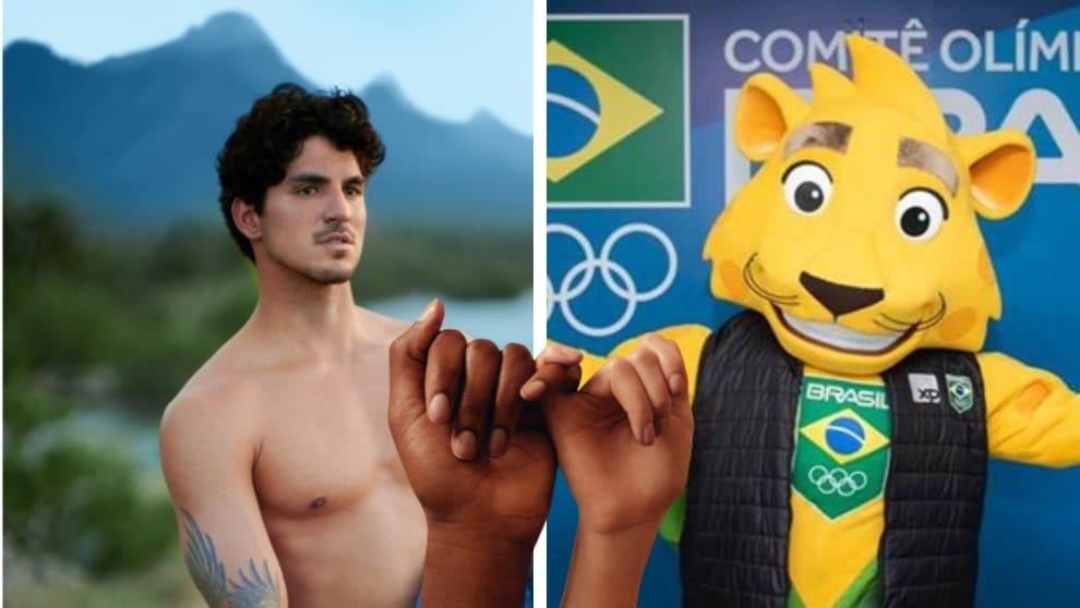 Gabriel Medina e o Mascote do COB, uma onça com camiseta do Brasil