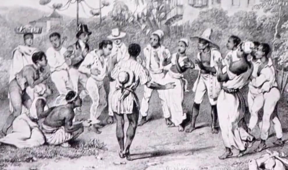 Pintura retrata escravos reunidos em uma roda.