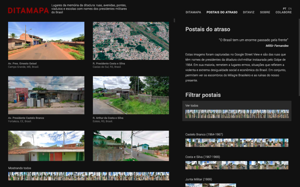 Reprodução da página, com várias fotos dos lugares que homenageiam ditadores.