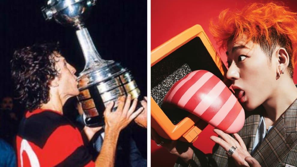 Zico beijando uma taça no flamengo. Enquanto o outro Zico beija uma escultura