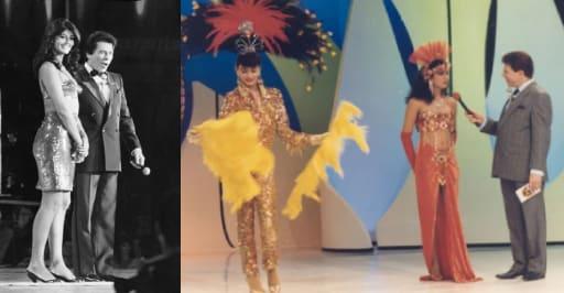 Duas fotos antigas. Na primeira, Roberta Close está de pé ao lado de Sílvio Santos. Na segunda, Uma pessoa com trajes de lantejoulas douradas segura dois adereços de plumas, e ao seu lado direito, Sílvio Santos entrevista Roberta Close