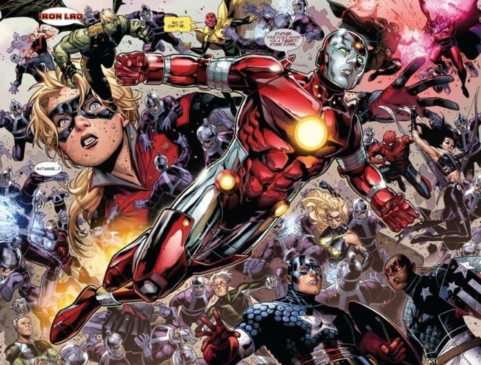 Cena dos quadrinhos que mostra Rapaz de Ferro no centro das atenções