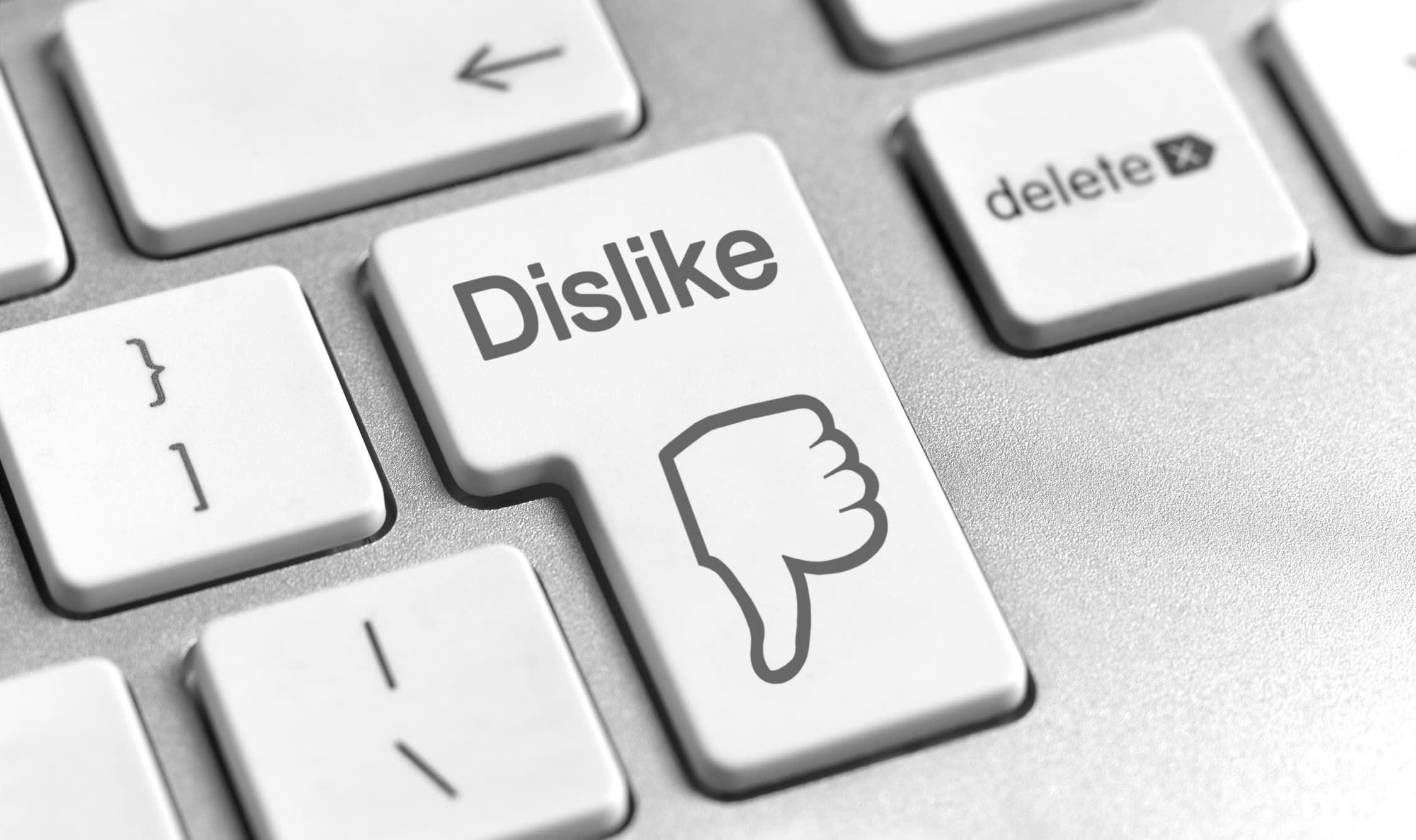 """A imagem mostra teclas de teclado de computador, e em uma dela lê-se """"Dislike"""". Na outra, lê-se """"delete""""."""