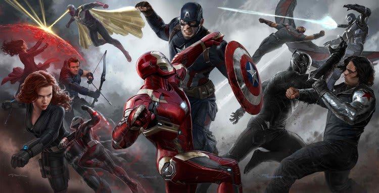 Heróis lutando uns contra os outros em arte conceitual do filme Guerra Civil