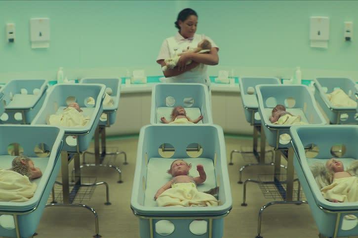 Uma maternidade cheia de bebês que são metade pessoas, metade bichos