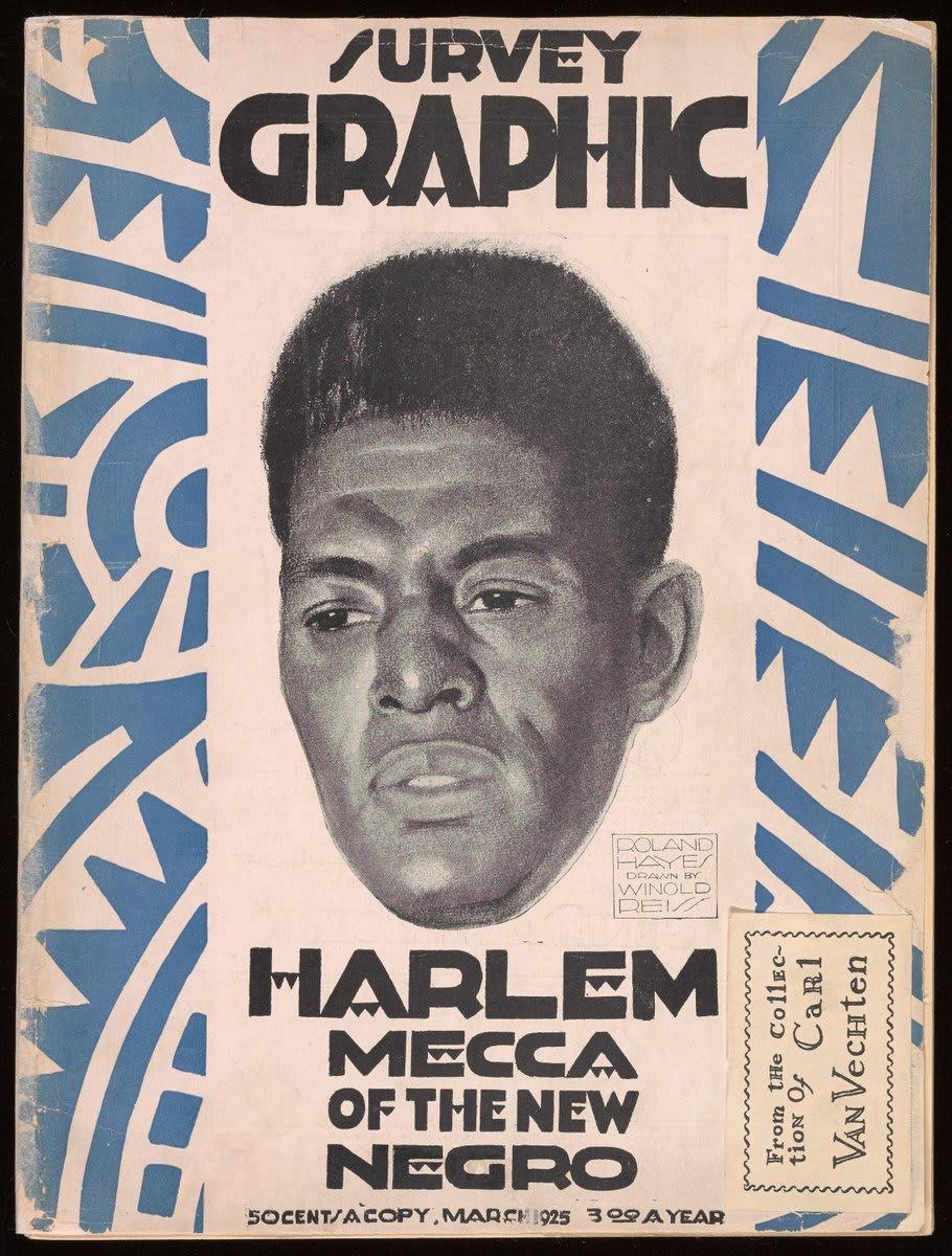 """Capa da revista Survey Graphic, de 1925. Nela, há um rosto de um homem negro e lê-se """"Harlem Mecca of the New Negro"""""""
