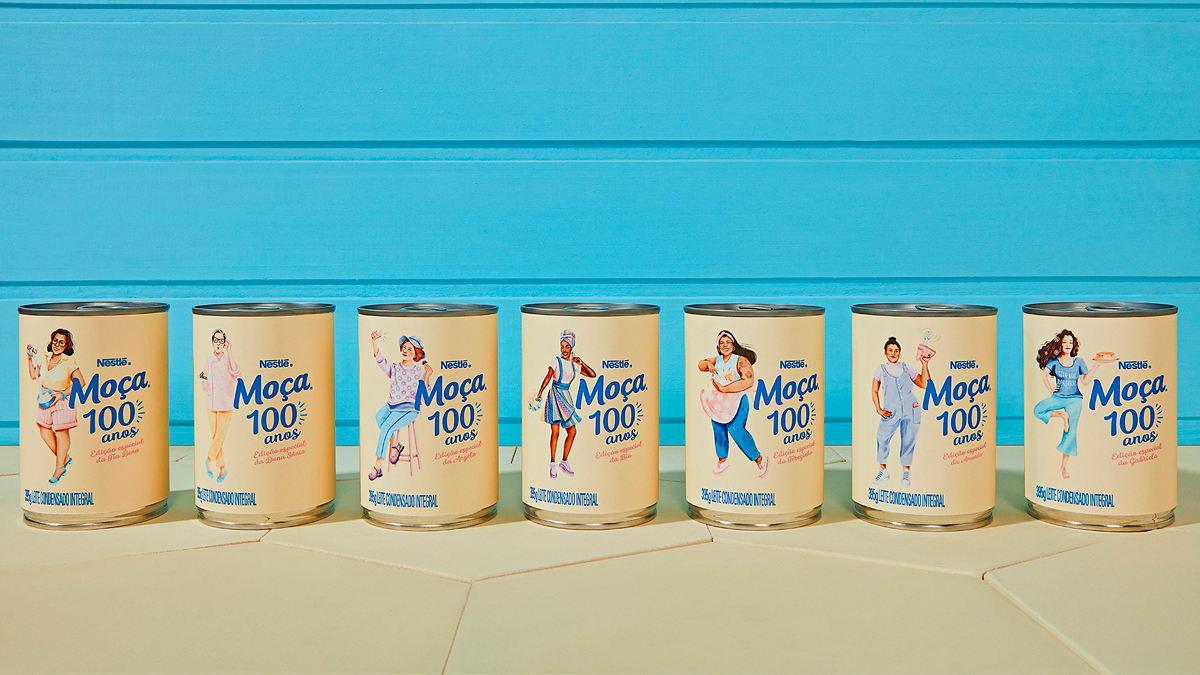 Novas latas de Leite Moça, com mulheres gordas