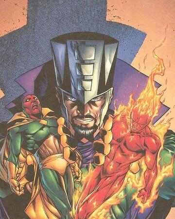 Capa de quadrinho com Immortus vencendo Visão e Tocha Humana