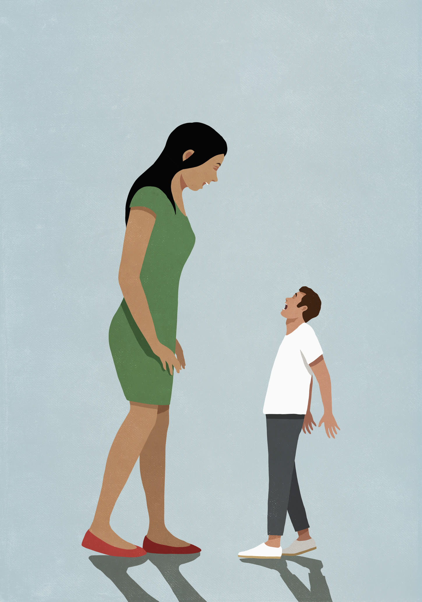 Ilustração de uma mulher muito alta frente a homem muito pequeno e assustado.