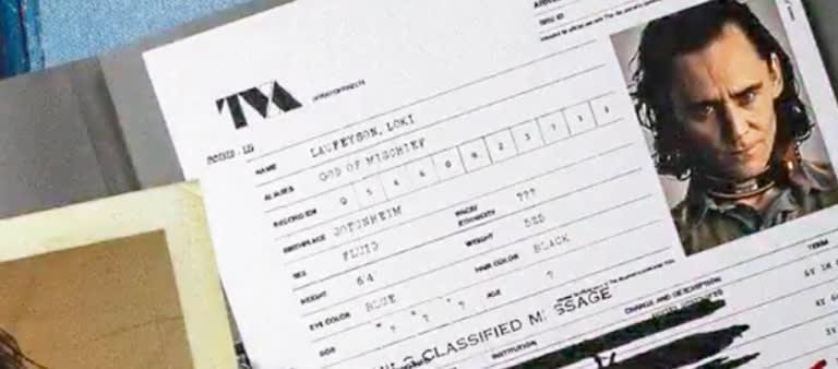 """Ficha criminal de Loki, onde a gênero é classificado como """"fluído"""""""
