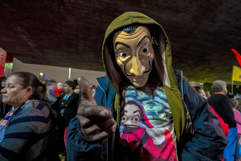 Manifestante em ato contra a ditadura militar, na Av. Paulista.