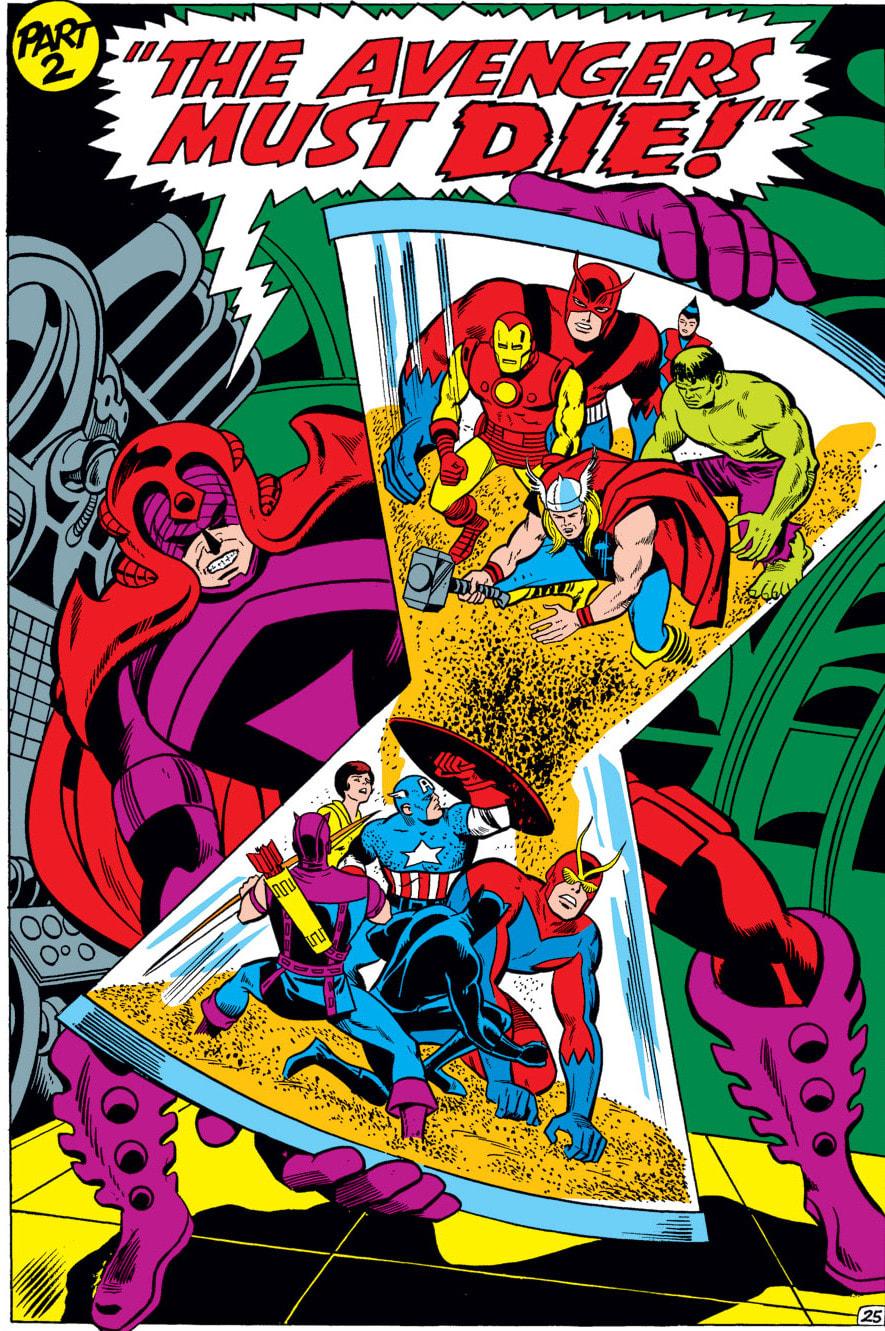 Capa dos anos 60 com centurião escarlate combatendo os Vingadores