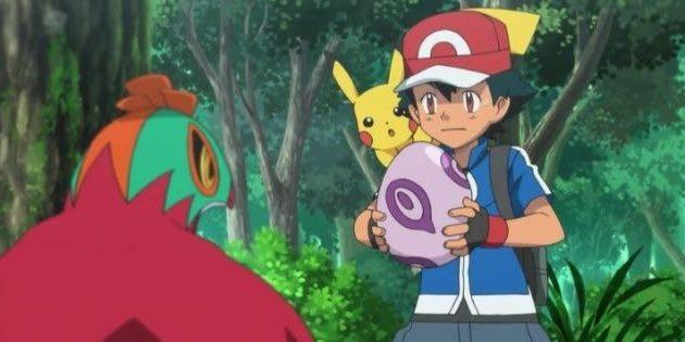 Ash segurando um ovo
