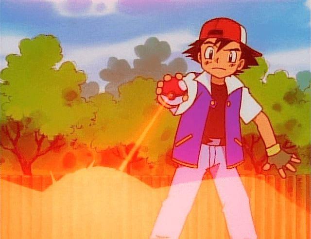 Ash e uma pokébola com um raio puxando, ou soltando, um pokémon