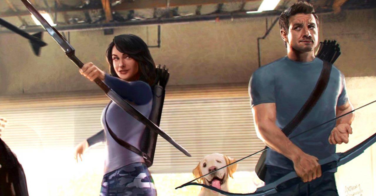 Arte conceitual que mostra Kate Bishop, Gavião, e um cachoro