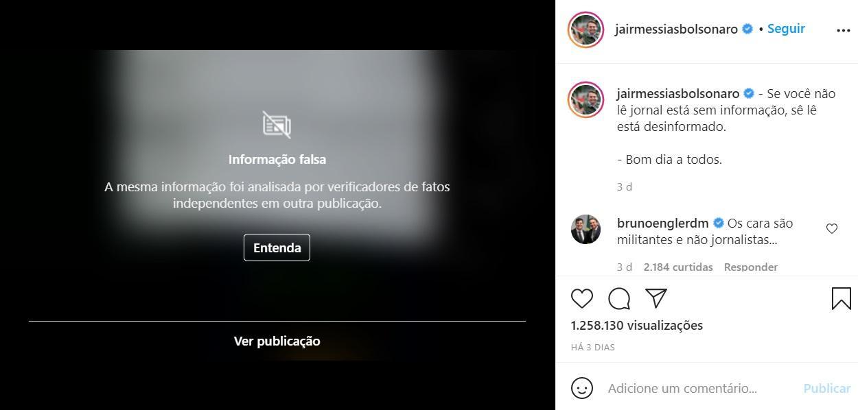 Print da publicação sendo bloqueada pelo Instagram