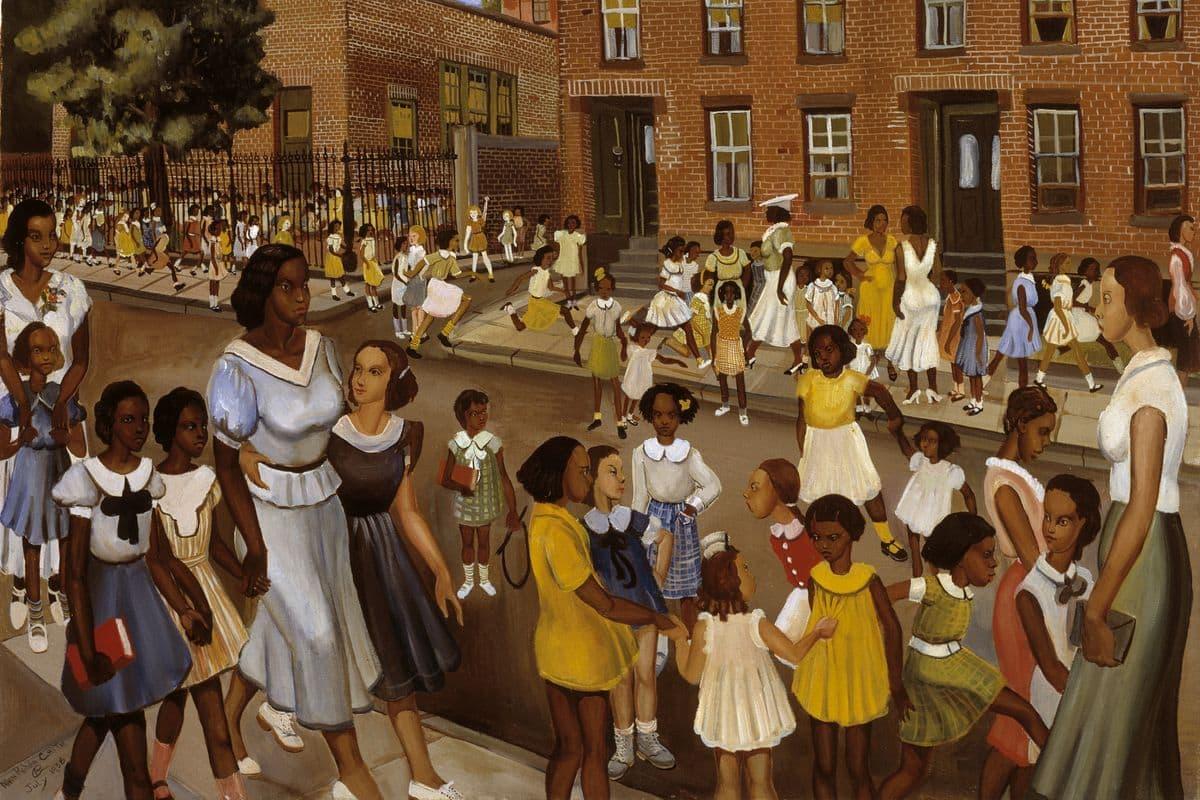 Pintura que retrata mulheres e crianças negras andando e interagindo entre elas em uma rua.