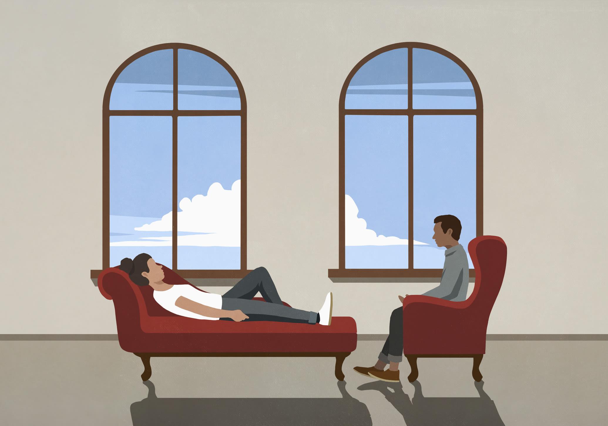 Ilustração de uma pessoa em uma sessão de terapia.