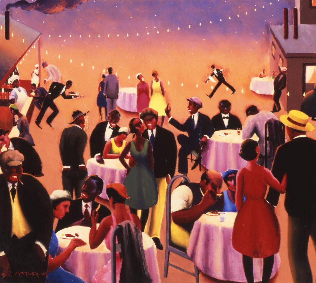 Pintura que retrata algo que se assemelha a uma festa. Há diversas pessoas, todas negras. Algumas conversam, outras estão em mesas redondas comendo, outras fumam e há também garçons servindo as mesas.