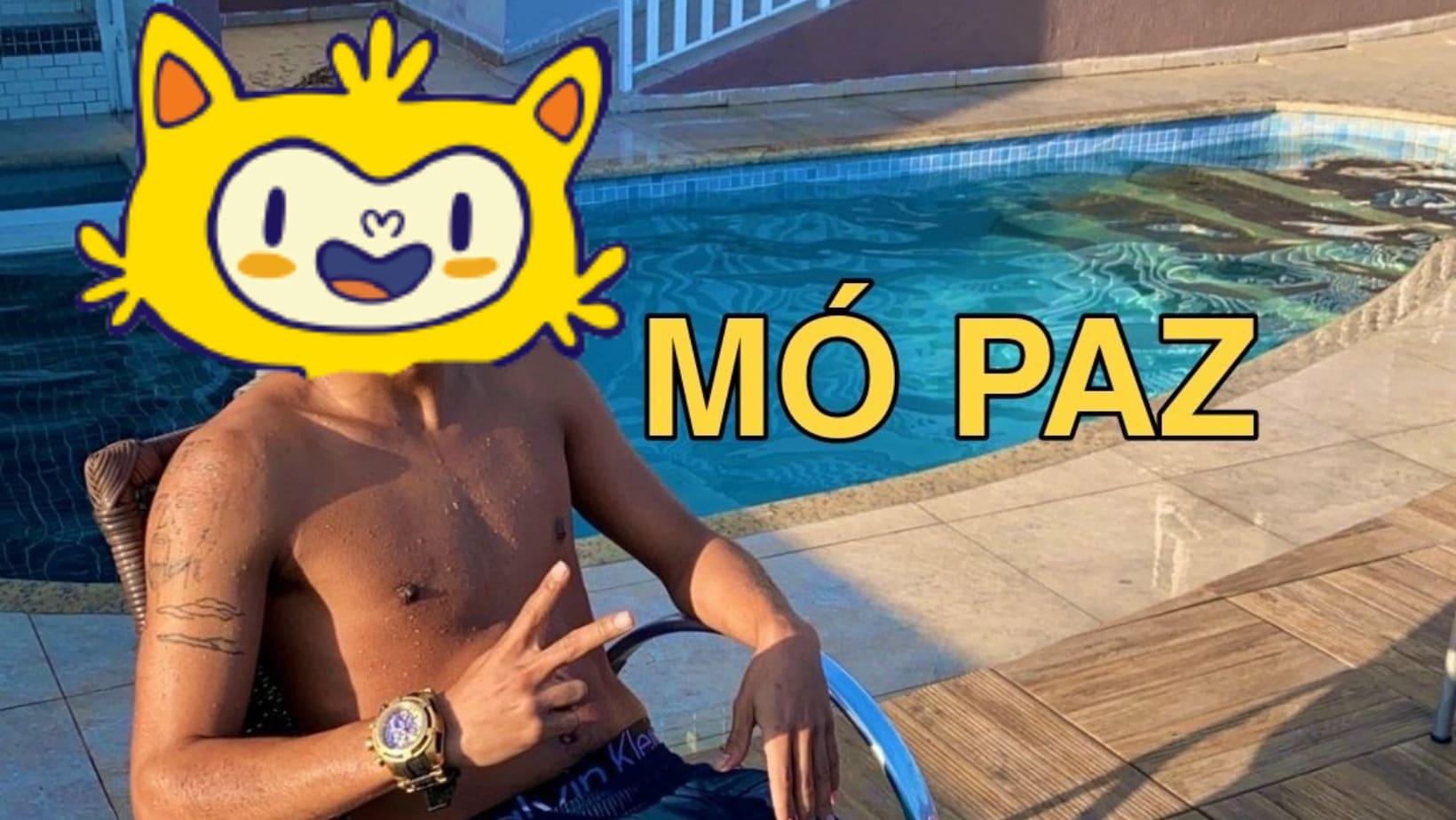 """Meme de mc pose falando """"Mó paz"""", mas com o rosto de vinícius, o mascote das olimpíadas."""