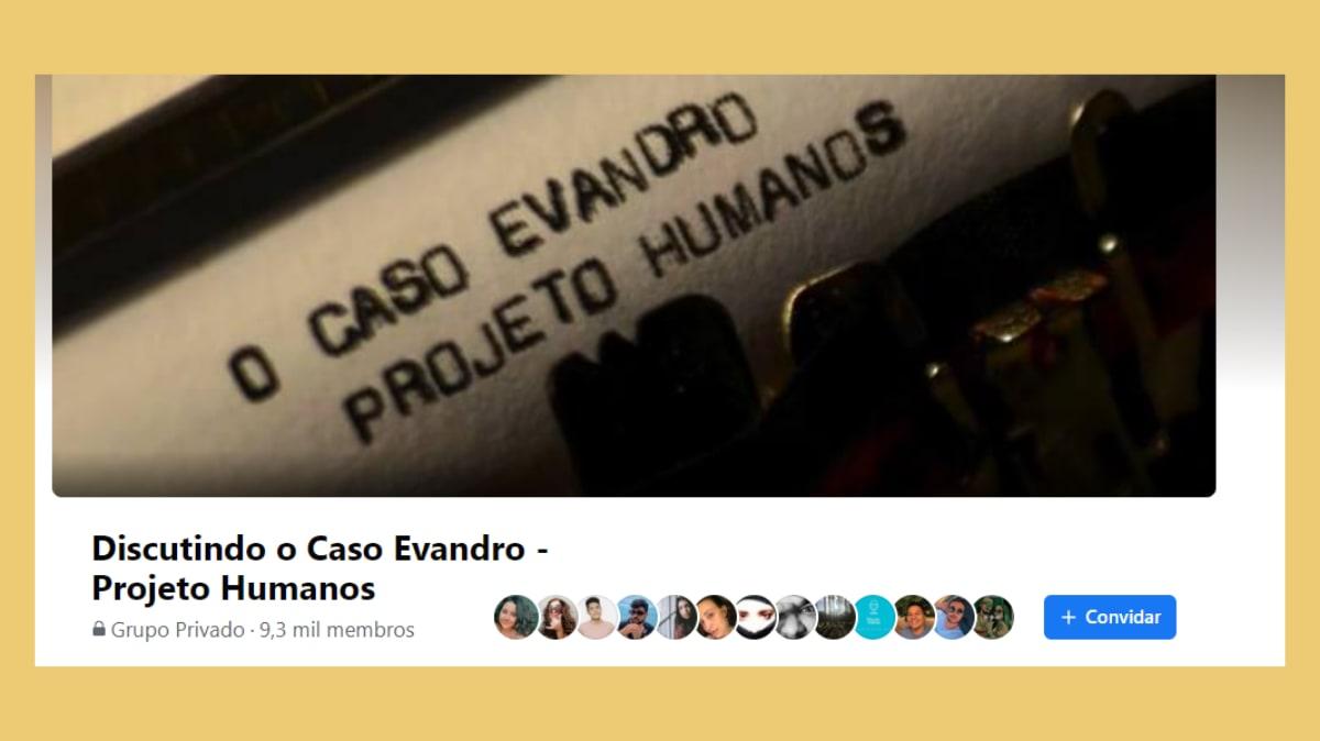 """Print do cabeçalho do Grupo """"Discutindo o Caso Evandro - Projeto Humanos"""" Abaixo, uma inscrição dizendo que há 9,3 mil membros"""