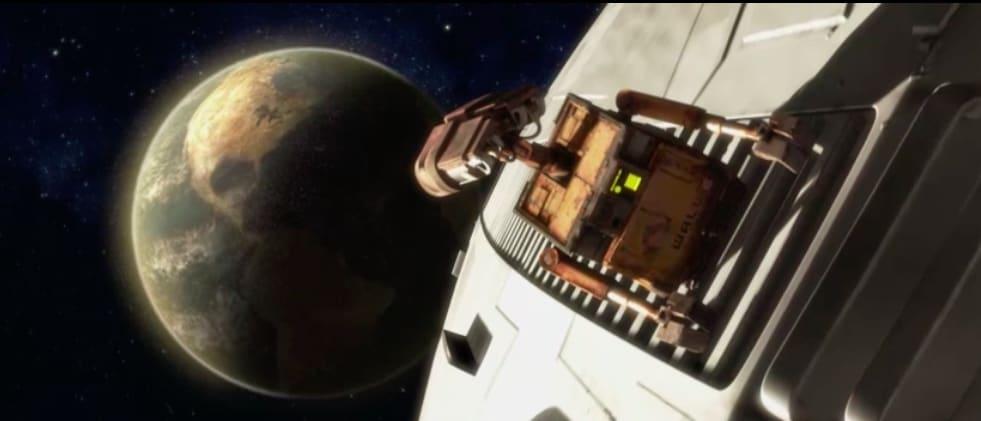 Wall agarrado em uma espaçonave vendo a Terra