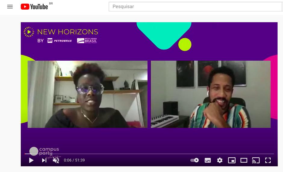 Print do youtube reproduzindo o painel I.A e Afrofuturismo