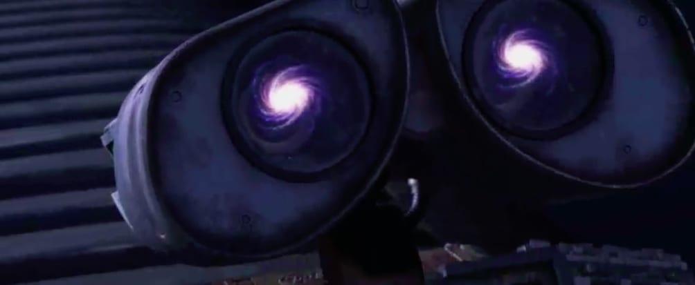 A Via Lactea sendo refletida nos olhos de Wall-E