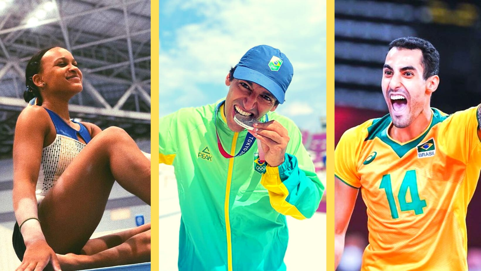 Rebeca Andrade, Kelvin Hoefler e Douglas Souza na Olimpíada