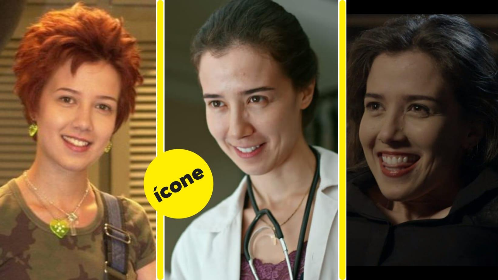 """Marjorie nos papéis de Natasha, Dra. Carolina e Cora. Um selo do Buzzfeed com o texto """"ícone"""" também acompanha a imagem."""