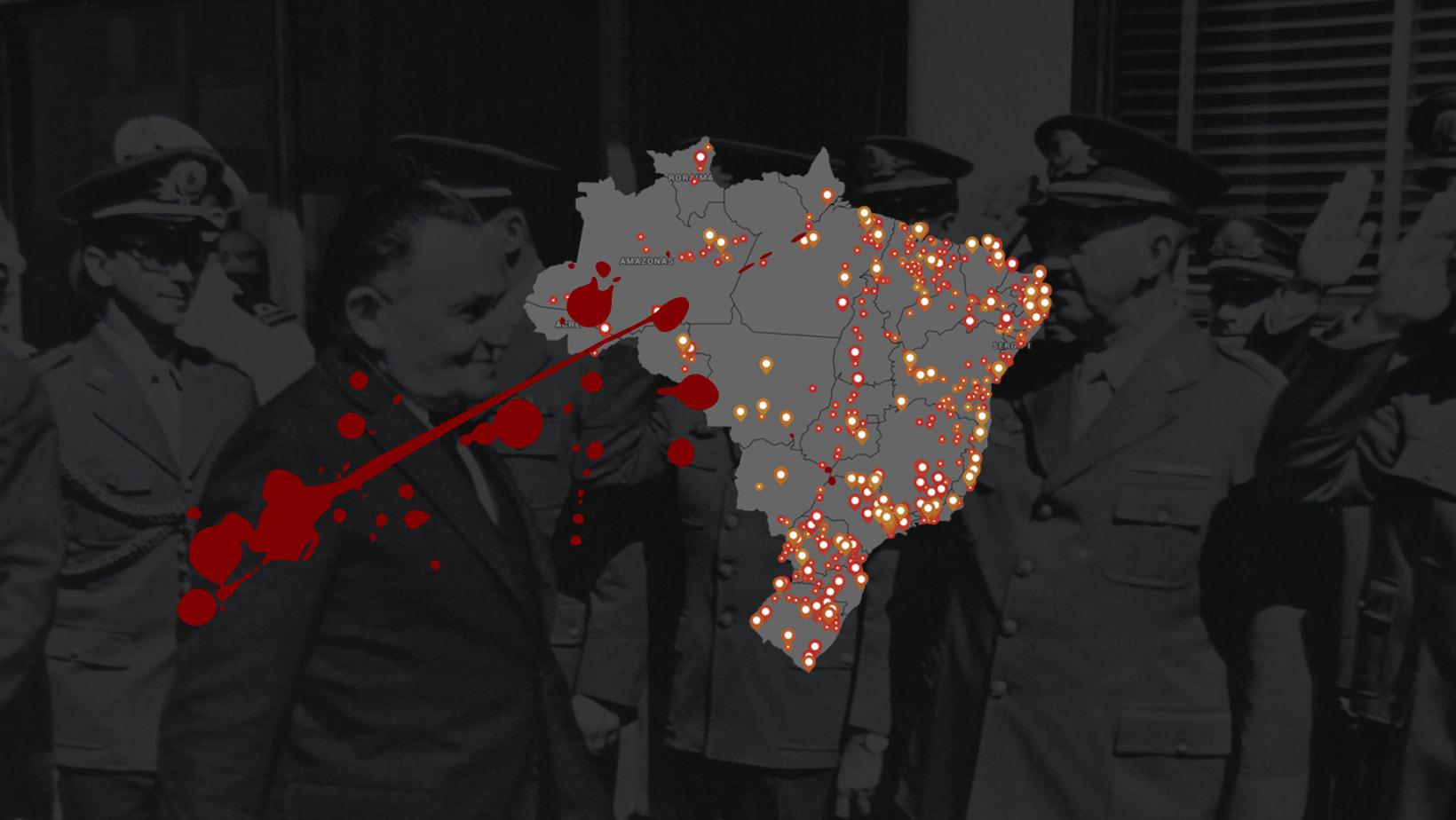 Mapa dos brasil com dezenas de pontos mostrando onde há logradouros com nomes de ditadores. Ao fundo são vistos militares batendo continencia para Castelo Branco.