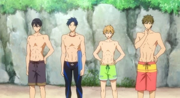 A group of male anime characters at the beach