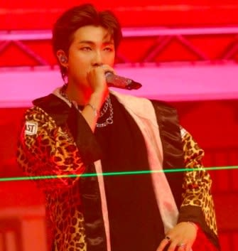 RM wears a leopard print robe and raps into a microphone; the background is red