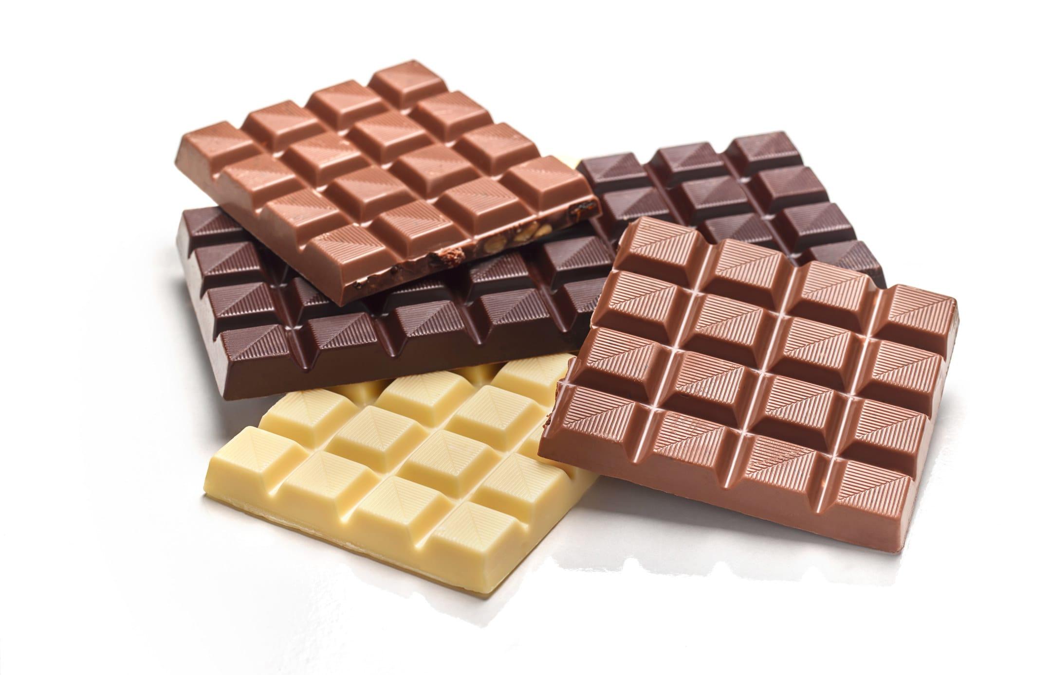 White, milk, and dark chocolate bars