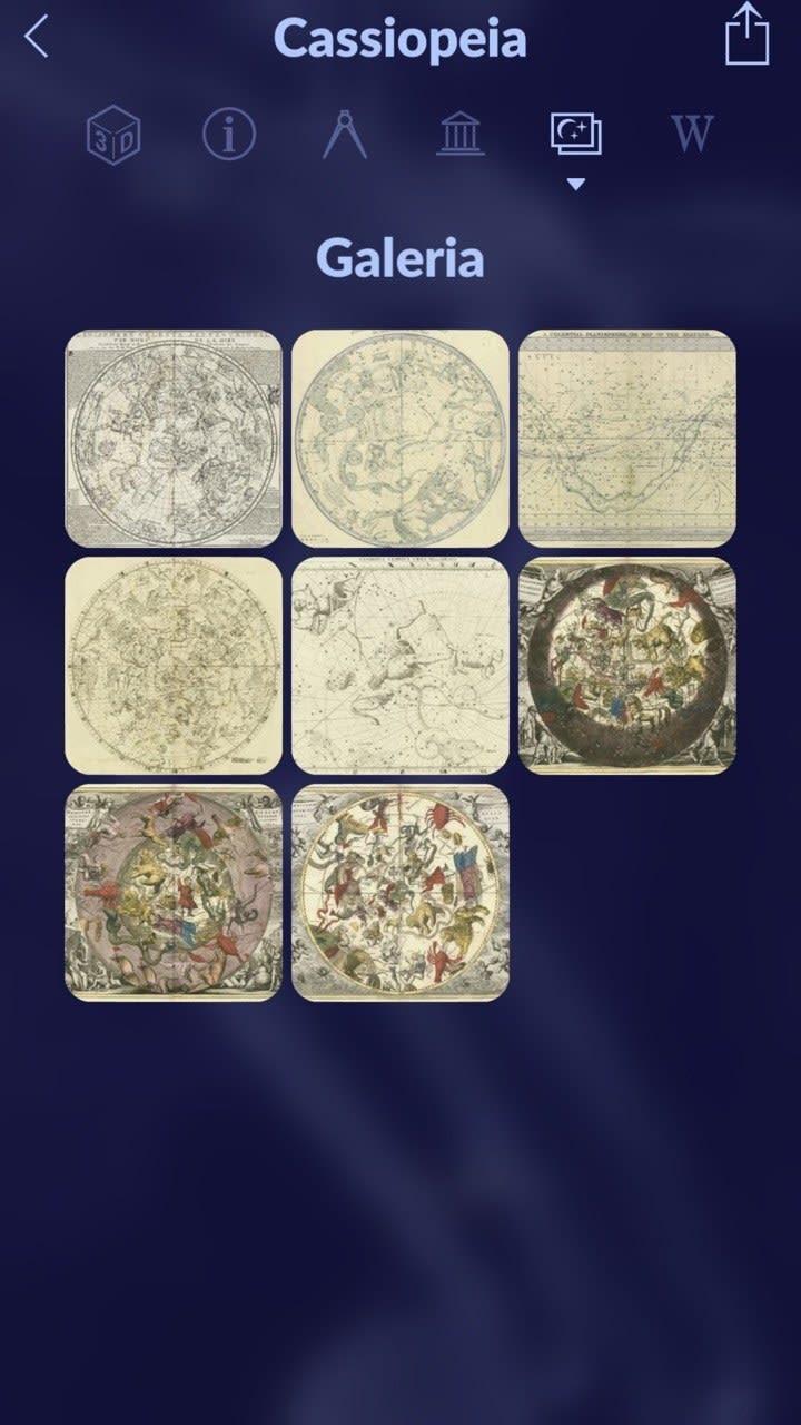 Captura de tela do aplicativo, mostrando uma galeria de mapas da constelação de Cassiopeia