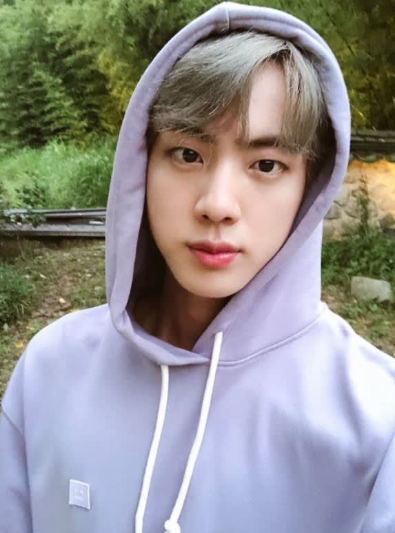Jin looks into the camera; he is wearing a hoodie with the hood up on his head; the background is trees