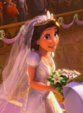 Rapunzel smiles in a wedding dress