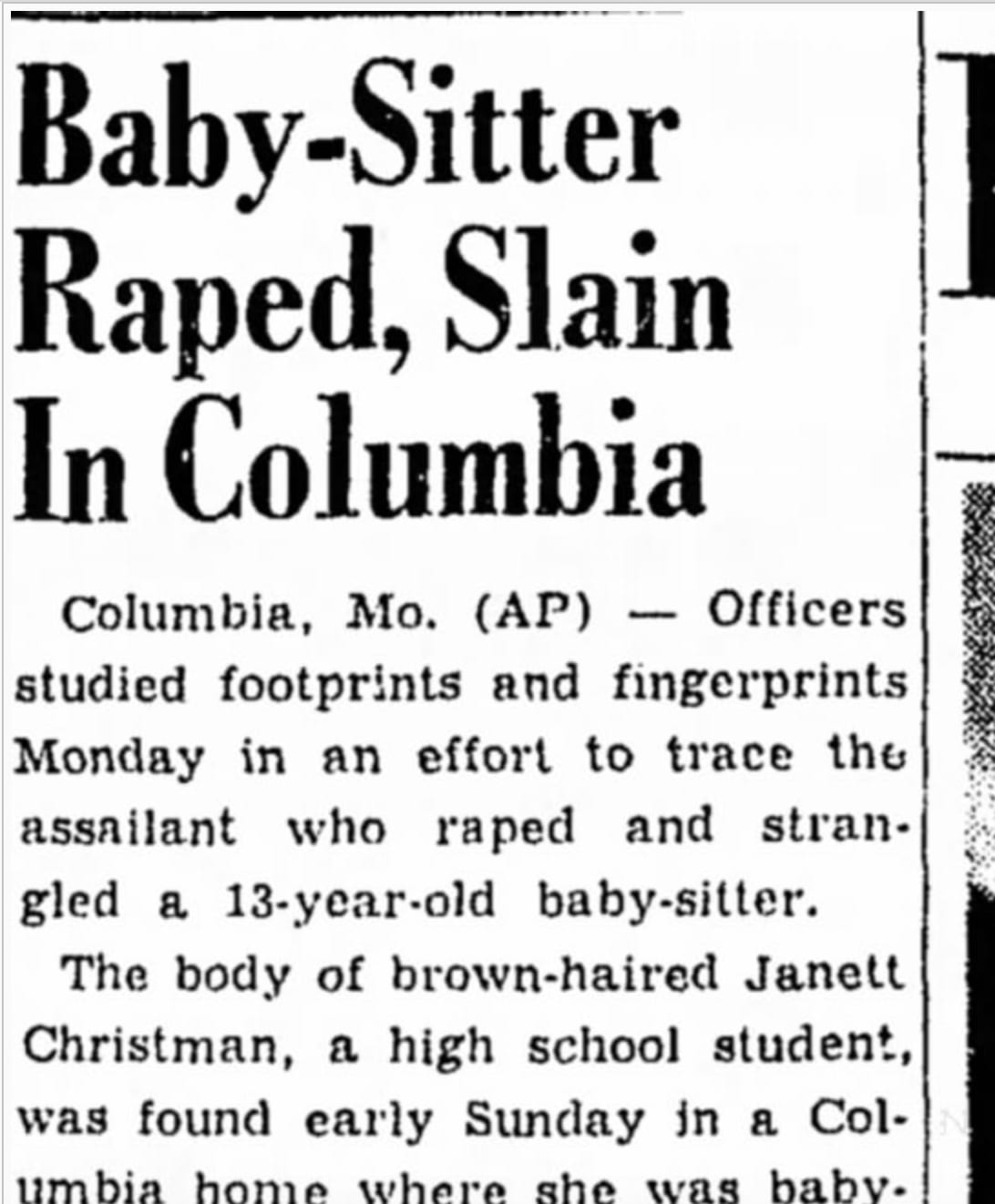 A newspaper clipping of the 1950 murder