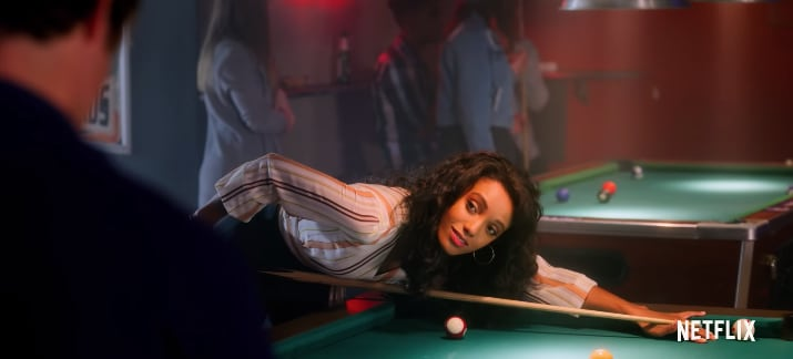"""Maisie Richardson-Sellers as Chloe playing billiards and looking gorgeous in """"The Kissing Booth 2."""""""