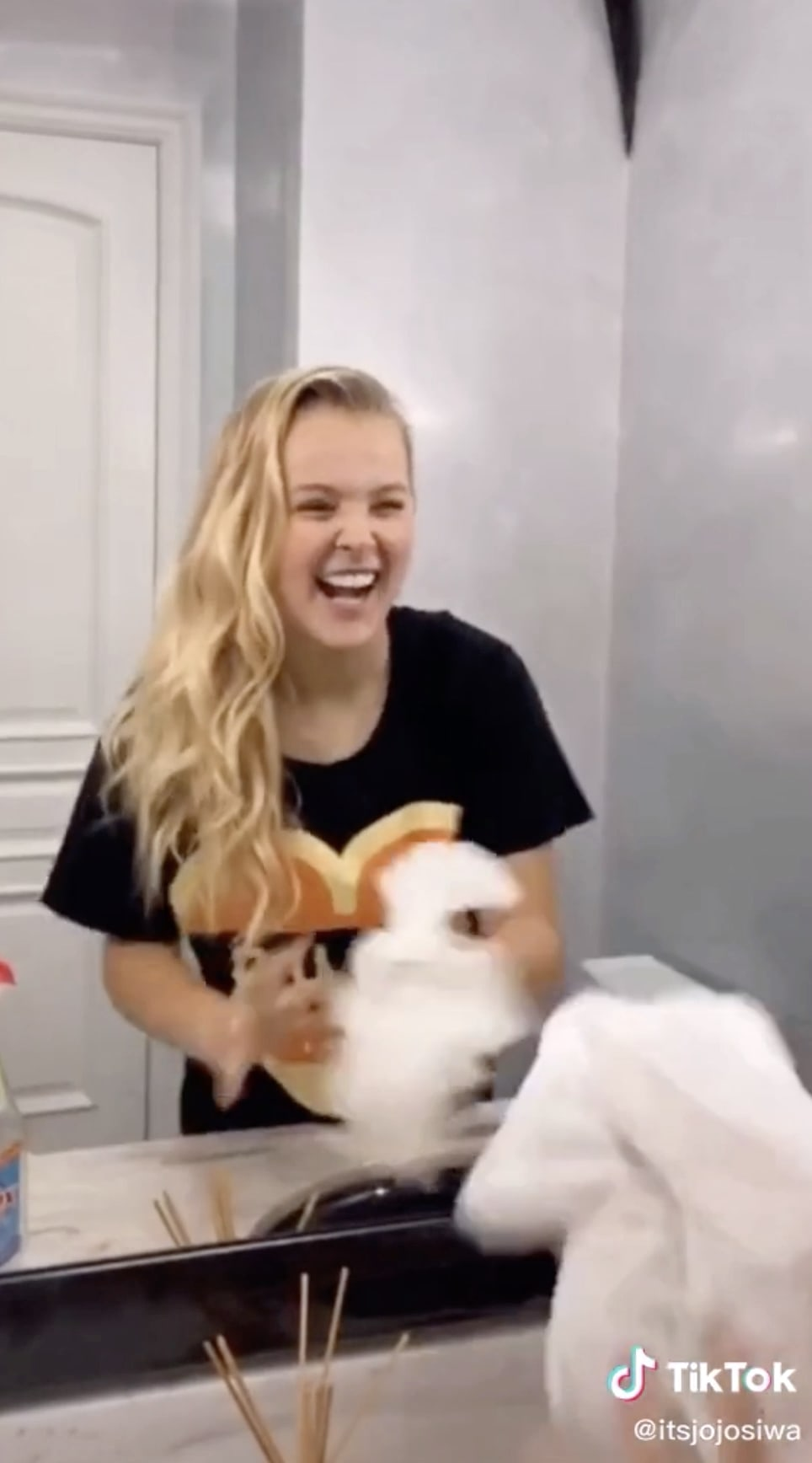 "JoJo does the ""wipe it down"" challenge on TikTok."