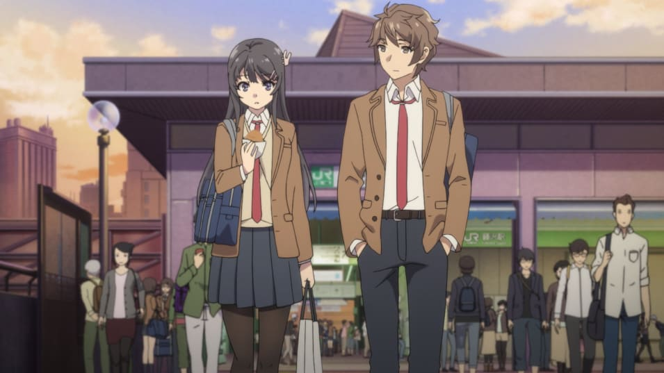 Two anime school students; their uniform is a brown blazer, white shirt, red tie and a black skirt or pants