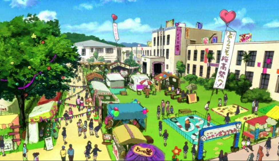 A school festival in anime; there are various stalls set up outside and balloons and banners advertising them